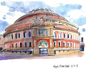 The Royal Albert Hall - a print made from my sketchbook drawing