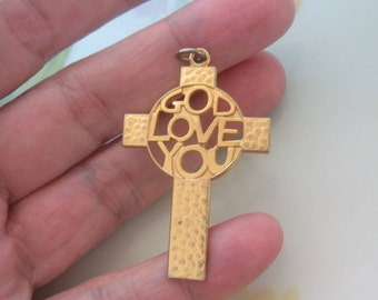 "Vintage ""GOD LOVE YOU"" Cross Pendant Cut-Out Design Center Pebble Texture Brushed Satin Texture Reverse Gold Plated Metal"