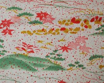 "14.3""w. x 40.5""l. Japanese vintage silk kimono fabric small flower motifs in ivory 3174A"