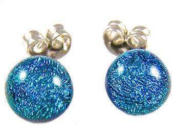 "Tiny Dichroic Post Earrings - 1/4"" 8mm - Metallic Teal Green Jade Viridian Verdigris Fused Glass Dichro Dots"