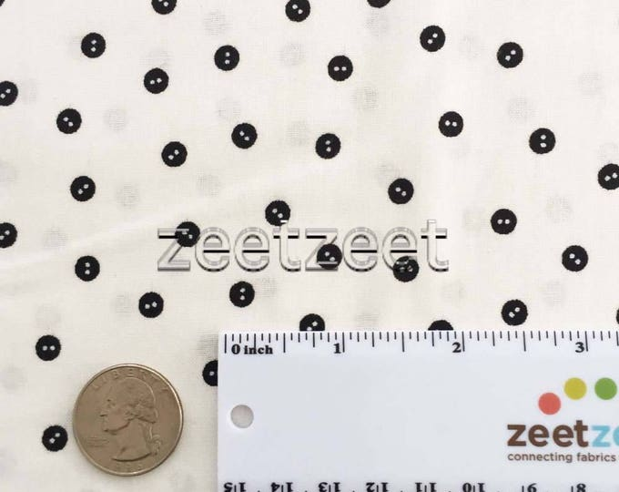 BABY BUTTONS White Sewing Seeds Quilt Fabric - by the Yard, Half Yard, or Fat Quarter Fq by Quilting Treasures