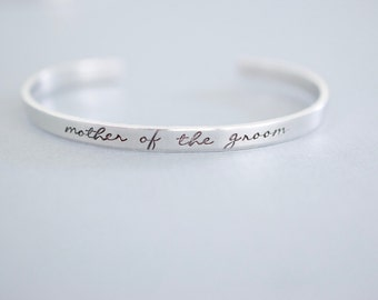 Mother of the Groom Bracelet - Handstamped Bridal Jewelry - Skinny 1/5 inch
