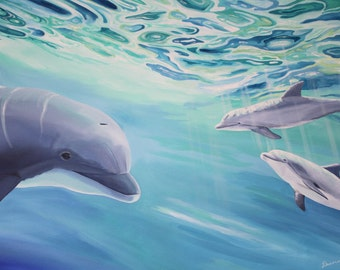 Original Large Dolphin Painting Blue Green