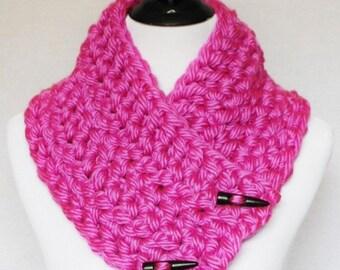 Pink Crochet Scarf, Chunky Button Cowl, Crochet Neck Warmer, Wrap Scarf - Magenta, Fuchsia, Hot Pink
