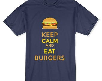 Keep Calm and Eat Burgers Men's Black T-shirt