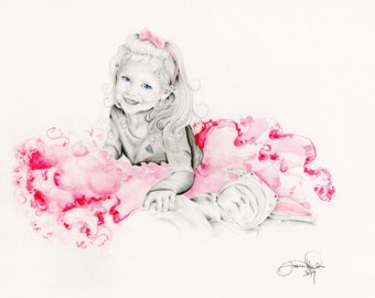 Custom Portrait Hand Drawn Portrait from your Photo Gift for Mom Gift for Mother Daughter Portrait Kids Portrait Drawing of your Child