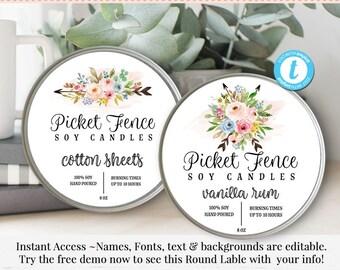 Round Product Label, Editable Label, 3 Inch Round Label, Jar Label, DIY Ingredient Label, Instant Download Sticker, Editable Sticker