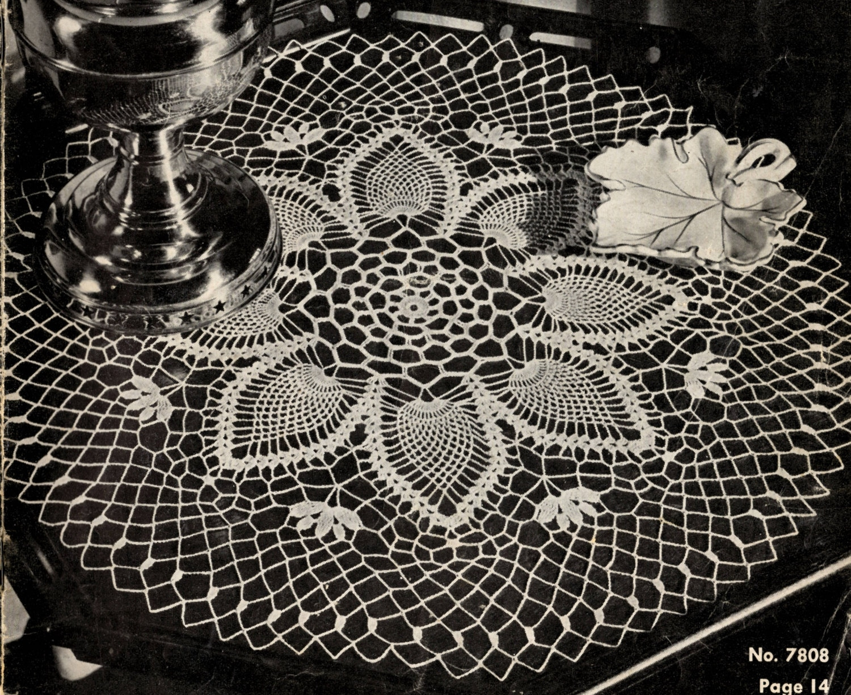 Doily Crochet PATTERN 7808 Round 22 inch Pineapple Doily Pattern ...
