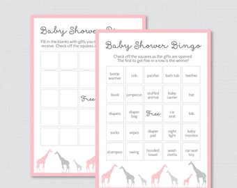 Giraffe Baby Shower Bingo Cards - Prefilled Bingo Cards AND Blank Cards - Digital Instant Download - Pink Giraffe Baby Shower - 0011-P