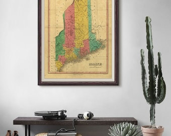 Maine Antique Map 1831, America Old Map, Old Map of Maine, Maine Map, Vintage Map- CP070
