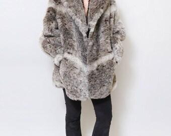 Vintage 1980's Wolf Grey Faux Fur Coat