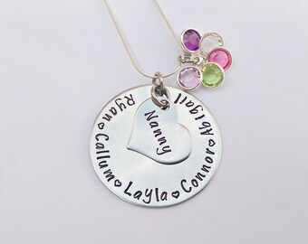 Personalised Nanny gift - grandma gift - gift from grandkids - grandchildren necklace - present for nanny - present for grandma, unique gift