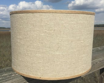 Natural Linen Lamp Shade - Large Drum Shade - Table Lampshade - Custom Lamp Shade - Drum Light Shade - Lamp Shade Drum with Jute Trim
