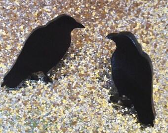 Raven stud earrings