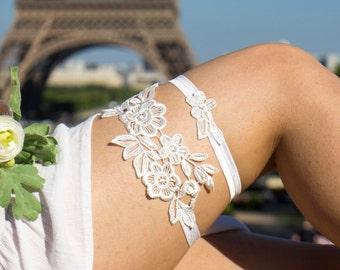 Ivory wedding garter set Lace garter Bridal garter Wedding garter Flower garter Bridal garter set