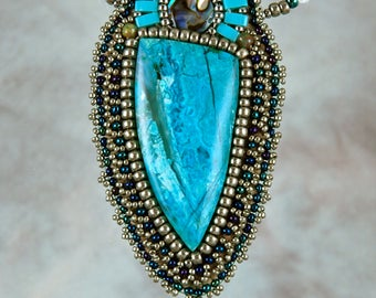 Necklace, bead embroidery, beaded,  chrysocolla,paua, blue beaded necklace
