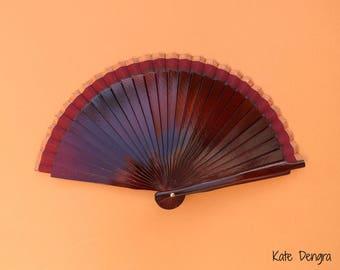 Burgundy Bronze Border Man Fan Wood Folding Hand Fan 16cm Spanish Wooden Hand Held Fan Male Accessory
