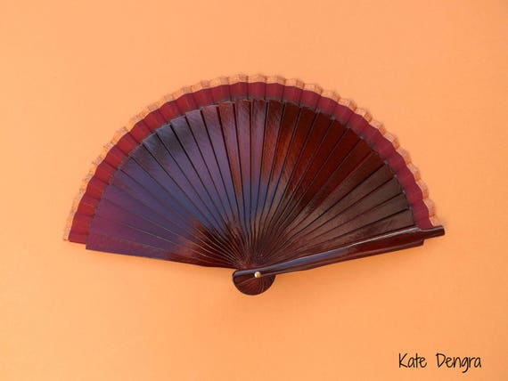 Burgundy Man Hand Fan Tiny