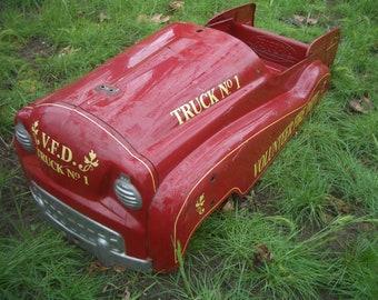 Wow!! Full Size Dipside FIRE TRUCK All Metal PEDAL Car Body. Nice! L@@k, Read!!!