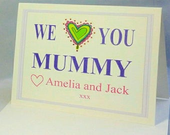 Personalised MOTHER'S DAY Card - Any name(s) - Heart