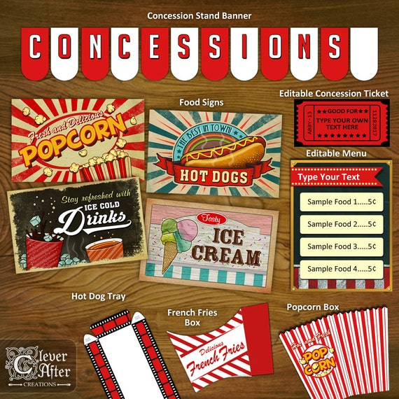 Greatest Concession Stand Printables Concessions Party Decorations QM25