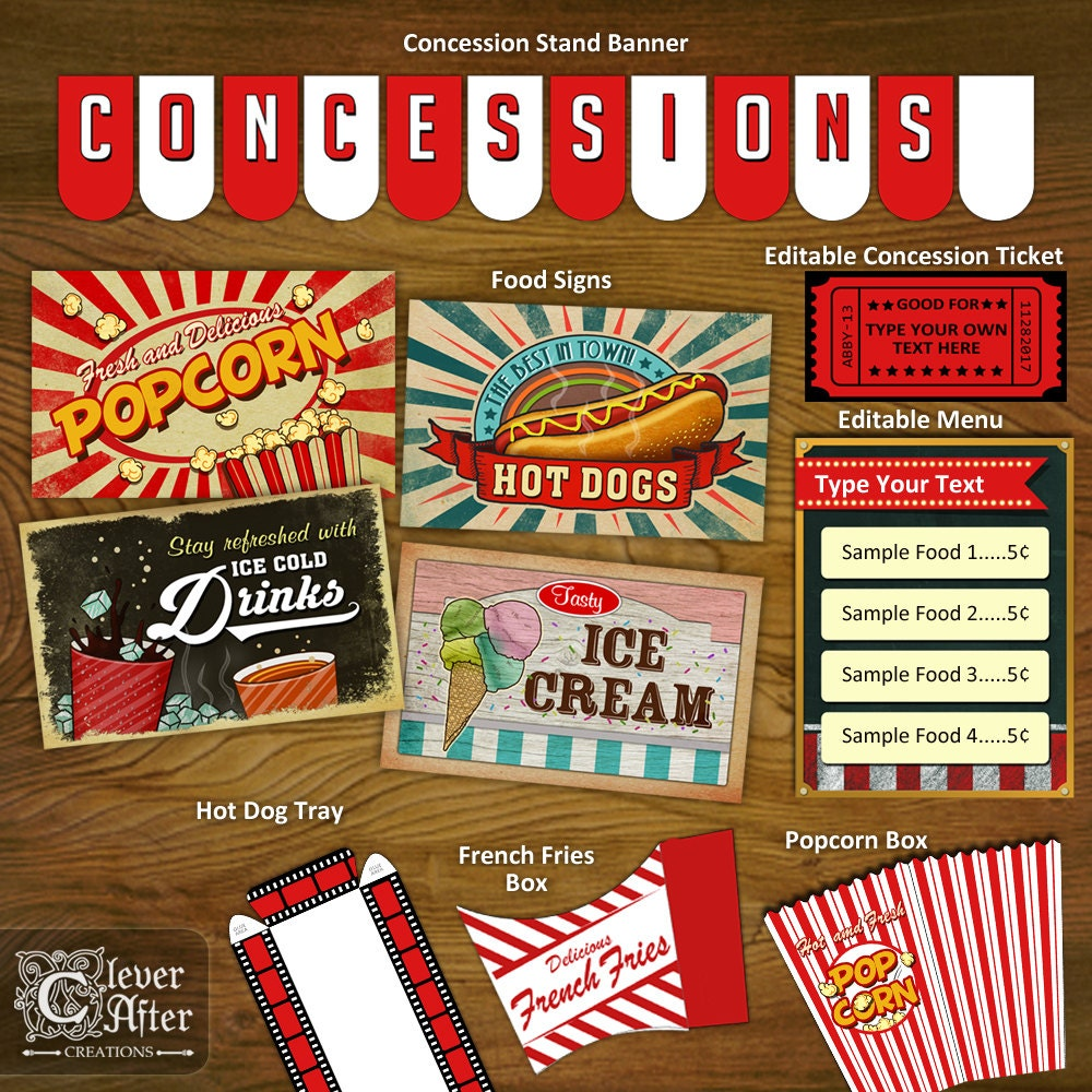 movie concession signs template agcrewall