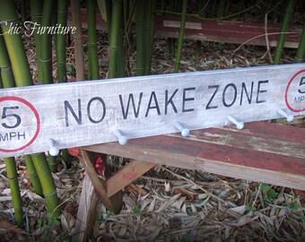 No Wake Zone Lake SIGN~ Cabin~Lodge~Boat~Gift~Coat Towel Rack Hanger-FISHING Gear