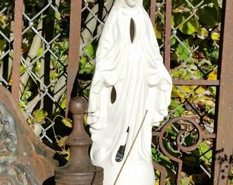 "Vintage Virgin Mary Lamp - 13"" Tall"