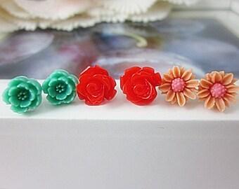 Set of 3 Flower Stud Earrings.  Green, Red, Peach flowers.  Gift for her.