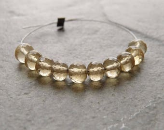 AAA - Beer Quartz Faceted Rondelle Beads - 4mm - 10 Beads