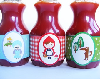 WATER BOTTLE LAVELS set of 6. Theme little Red Riding Hood. Children's party. Candy bar. Sweet table. Sweet buffet