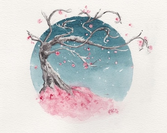 fruit&bone: Watercolour Cherry Blossom Sakura Tree Digital Art Print