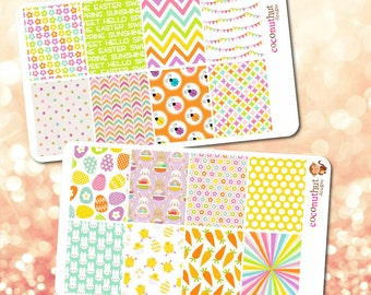 Set of 16 Spring / Easter Theme Full Box Planner Stickers