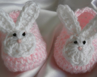 Baby Bunny Booties, Crocheted Bunny Booties, Newborn Baby Girl Booties, Baby Bunny Shoes, Easter Bunny Booties, Photo Prop Bunny Booties