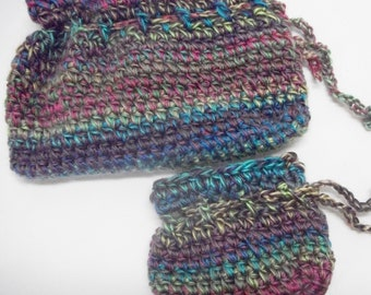 Boho Crochet Clutch and Coin Purse Set, Crochet Drawstring Purse Set, Multicolored Drawstring and Coin Purse Set, Drawstring Cosmetics Bags