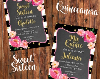Printable Quinceanera or Sweet Sixteen 16 Birthday Party Invitation Customized Digital File