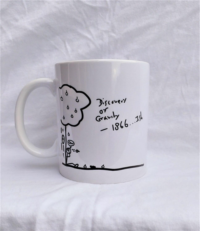 Einfache Geschichte Entdeckung der Schwerkraft Kaffeebecher