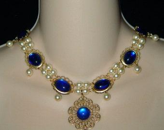 Renaissance Necklace, Medieval Necklace, Tudor Necklace, Medieval Jewelry, Renaissance Jewelry, Reproduction, Lady Cybil Brass U Pick Colors