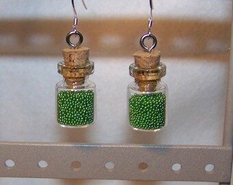 Earrings mini flask or flask MICRO balls Green