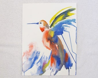 Abstract hummingbird ORIGINAL watercolor painting, 12x16 inches, blue, red, yellow