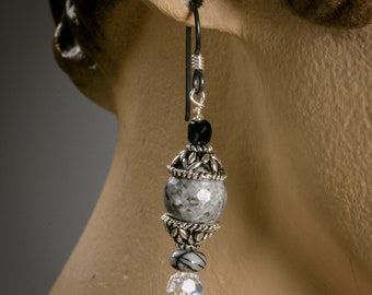 Snowflake Obsidian earrings with Czech glass, nickel free bead caps and Niobium ear wires