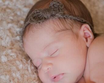 Newborn Headband, Baby Headband with Bow, Crochet Headband, Newborn Headband Bow, Ready to Ship Headband, Newborn Girls Headband Bow, RTS