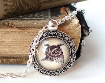Great Horned Owl Necklace in Silver