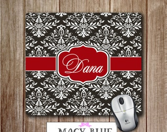 damask office accessories. Monogram Mousepad Black, White, Red Damask Mouse Pad, Personalized Mousepad, Office Accessories D
