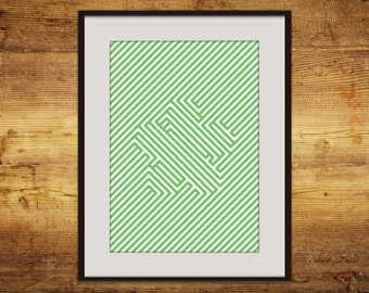 Green flower line art A3 printable poster instant download