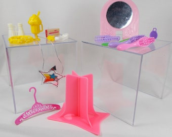 Vintage Barbie Starr Doll Accessory Lot 70s 80s Stand Mirror Pink Yellow