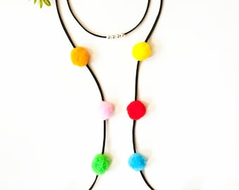 Pom Pom choker necklace, long choker necklace, colorful long choker, bright long choker, boho choker necklace, choker, choker necklace.
