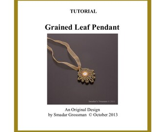 Beading Tutorial, Grained Leaf Pendant. Beading Pattern with Rulla Beads and Crystal Rivoli. Beadweaving Technique Instructions PDF File