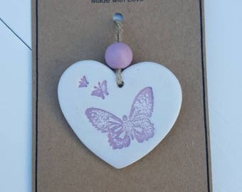 Handmade Clay Tag with a Pink Butterfly - Gift, hanging ornament, decor, accessory
