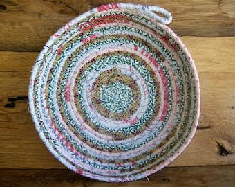 Handmade Coil basket,  round clothesline basket  coiled fabric basket,  green red cream round trivet tray  plant coaster  hot pad. INVA28